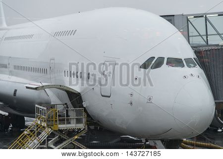 Paris, France-15 December, 2015 : Airbus A380 airliner docked at the airport Charles De Gaulle in France