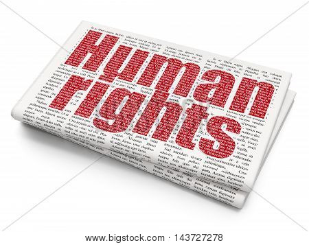 Politics concept: Pixelated red text Human Rights on Newspaper background, 3D rendering