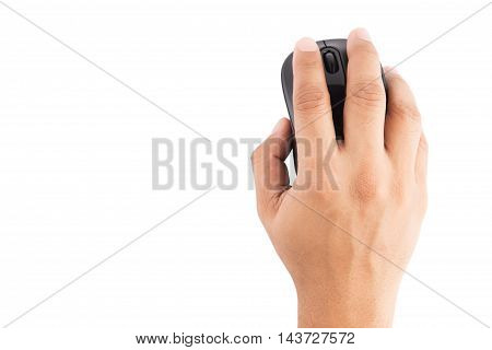 computer mouse in hand on white background