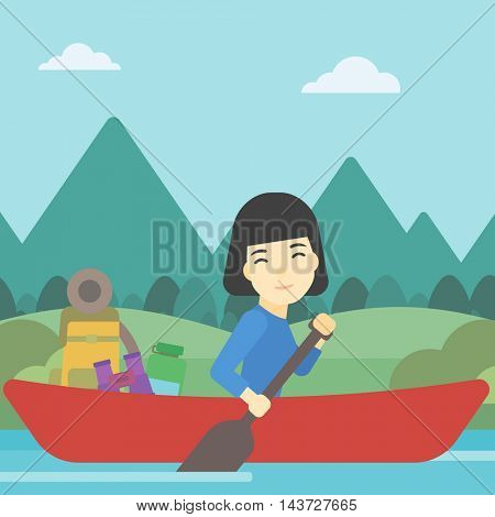 An asian woman riding in a kayak on the river with a skull in hands and some tourist equipment behind her. Woman traveling by kayak. Vector flat design illustration. Square layout.