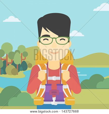 An asian man walking in the mountains. Male traveler with backpack and binoculars. Backpacker hiking in mountains. Vector flat design illustration. Square layout.