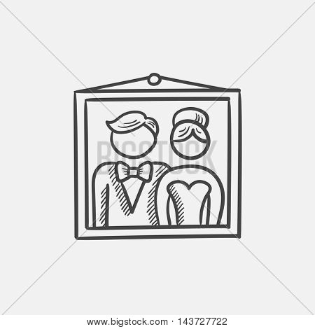 Wedding photo sketch icon for web, mobile and infographics. Hand drawn vector isolated icon.