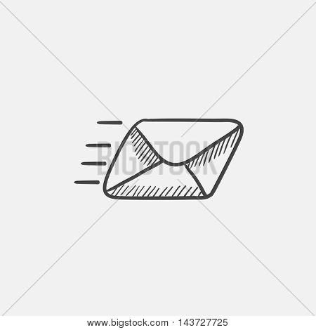 Flying email sketch icon for web, mobile and infographics. Hand drawn vector isolated icon.