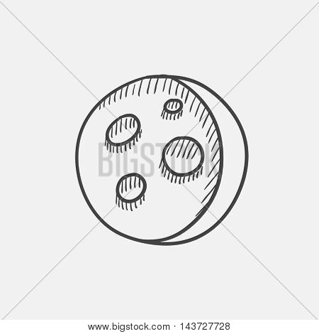 Moon surface with cheese holes sketch icon set for web, mobile and infographics. Hand drawn vector isolated icon.