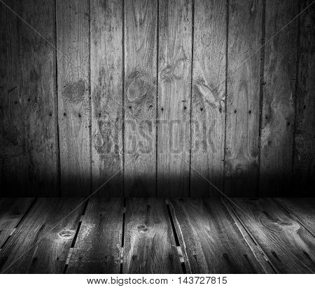 Wooden interior with colorful wall and floor. Background with planks on floor and wall