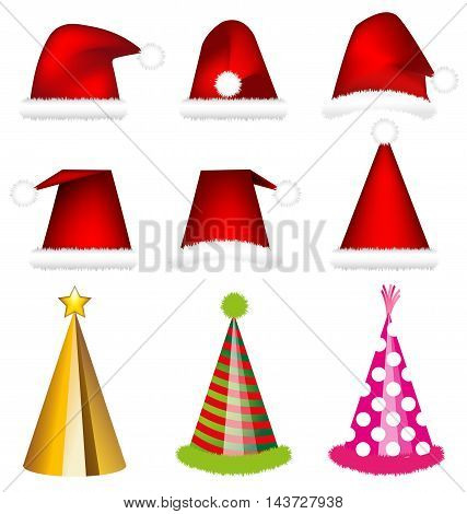Santa cap and party cap vector on white background