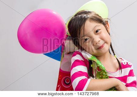 Young Girl Holding Balloon Background / Young Girl Holding Balloon / Young Girl Holding Balloon On I