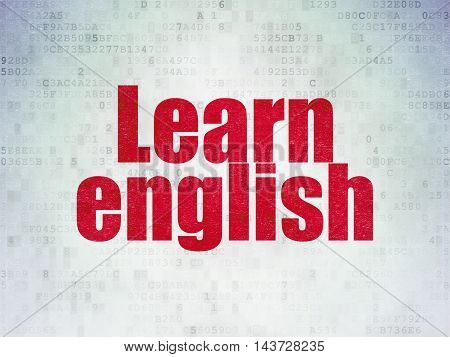 Studying concept: Painted red word Learn English on Digital Data Paper background
