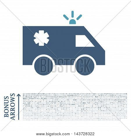 Emergency Car icon with 1200 bonus arrow and navigation pictograms. Vector illustration style is flat iconic bicolor symbols, cyan and blue colors, white background.