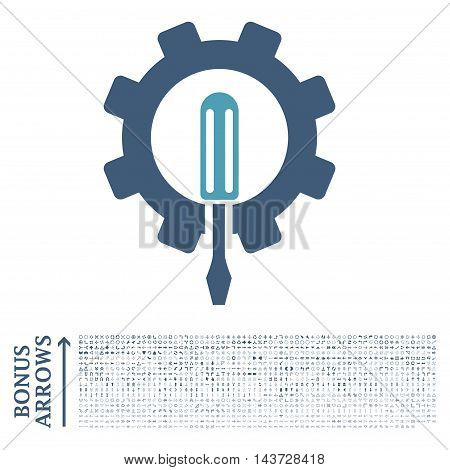 Engineering icon with 1200 bonus arrow and navigation pictograms. Vector illustration style is flat iconic bicolor symbols, cyan and blue colors, white background.