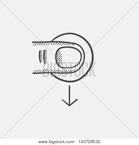 Drag down sketch icon for web, mobile and infographics. Hand drawn vector isolated icon.