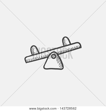 Seesaw sketch icon for web, mobile and infographics. Hand drawn vector isolated icon.