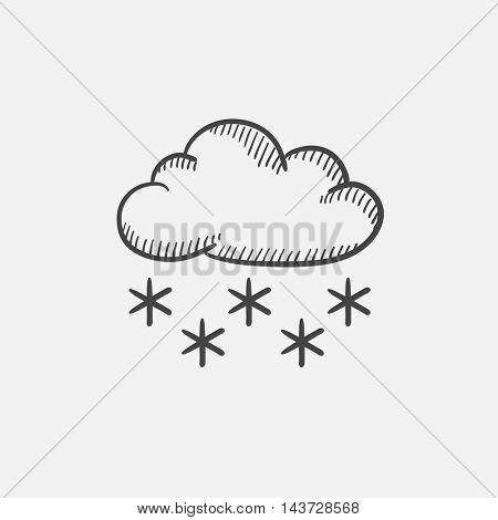 Cloud with snow sketch icon set for web, mobile and infographics. Hand drawn vector isolated icon.