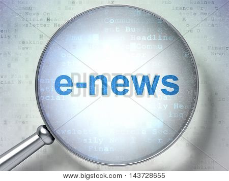 News concept: magnifying optical glass with words E-news on digital background, 3D rendering