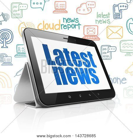 News concept: Tablet Computer with  blue text Latest News on display,  Hand Drawn News Icons background, 3D rendering