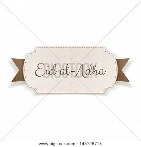 Eid al-Adha Text on realistic Banner with Ribbon