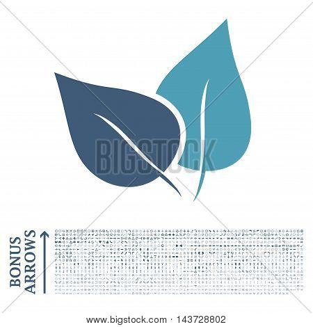 Flora Plant icon with 1200 bonus arrow and direction pictograms. Vector illustration style is flat iconic bicolor symbols, cyan and blue colors, white background.