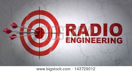 Success Science concept: arrows hitting the center of target, Red Radio Engineering on wall background, 3D rendering