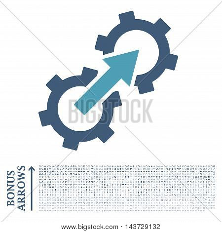 Gear Integration icon with 1200 bonus arrow and direction pictograms. Vector illustration style is flat iconic bicolor symbols, cyan and blue colors, white background.