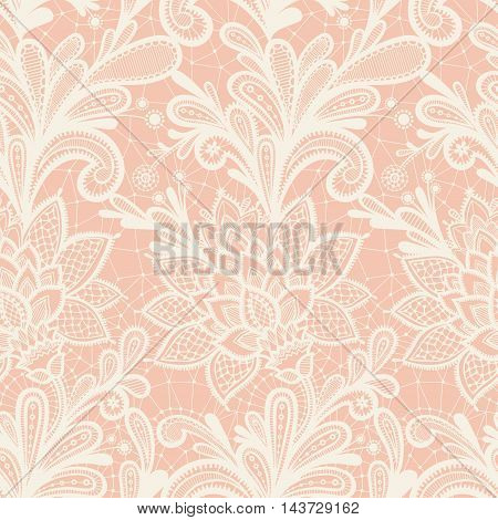 Seamless lace floral pattern. Grunge background with lace ornament.