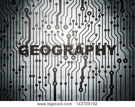 Science concept: circuit board with  word Geography, 3D rendering
