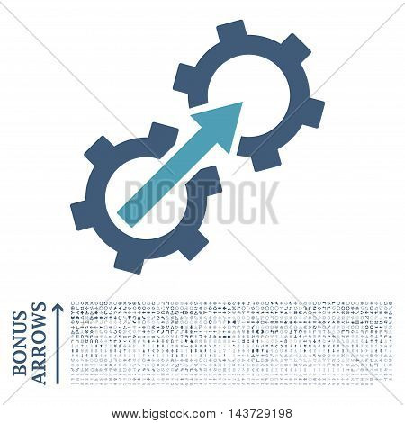 Gear Integration icon with 1200 bonus arrow and navigation pictograms. Vector illustration style is flat iconic bicolor symbols, cyan and blue colors, white background.
