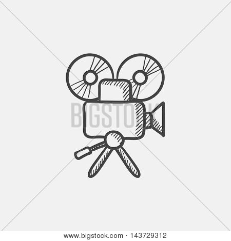 Video camera sketch icon for web, mobile and infographics. Hand drawn vector isolated icon.
