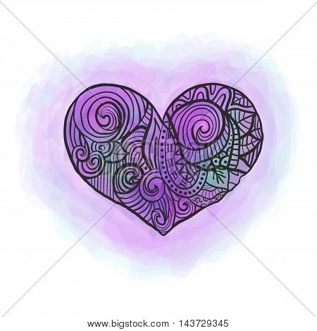 Zen doodle heart with watercolor imitation violet ant pink vector illustration.