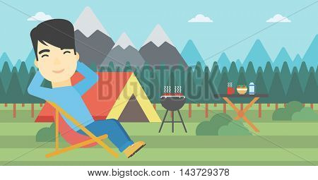 An asian man sitting in a folding chair in the camp. Man relaxing and enjoying his camping holiday near the tent. Vector flat design illustration. Horizontal layout.