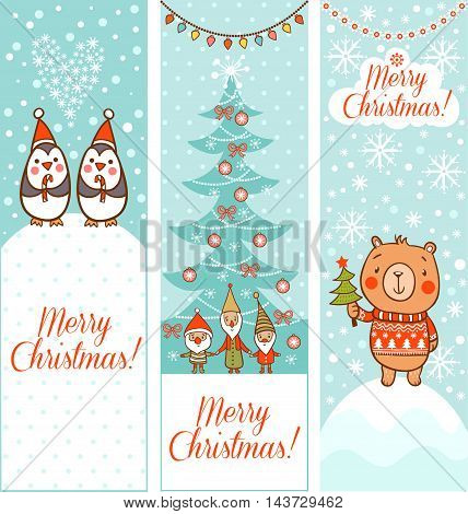 Cartoon vector new year texture. Cute christmas pattern with bear and penguins.