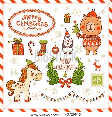 Set of Christmas and New Years graphic elements with horse penguin bear.