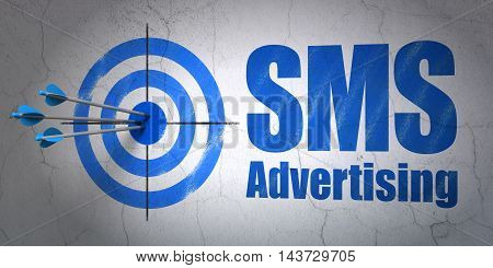 Success advertising concept: arrows hitting the center of target, Blue SMS Advertising on wall background, 3D rendering