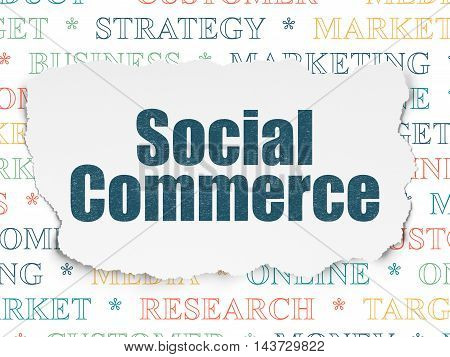 Marketing concept: Painted blue text Social Commerce on Torn Paper background with  Tag Cloud