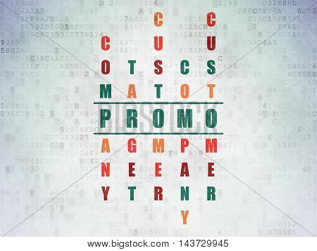 Marketing concept: Painted green word Promo in solving Crossword Puzzle on Digital Data Paper background