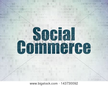 Marketing concept: Painted blue word Social Commerce on Digital Data Paper background