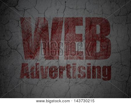 Marketing concept: Red WEB Advertising on grunge textured concrete wall background