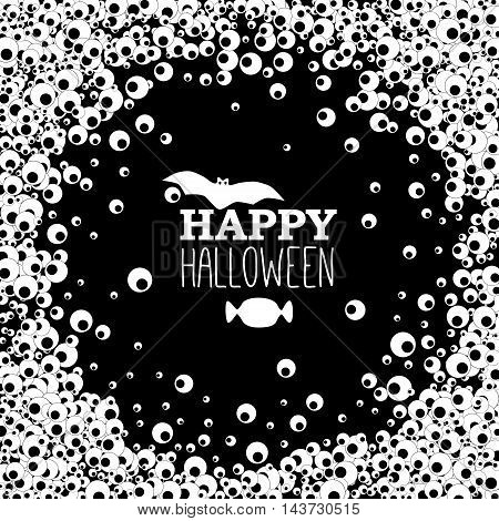 Happy Halloween black banner with apple of the eye but and candy. Vector background.