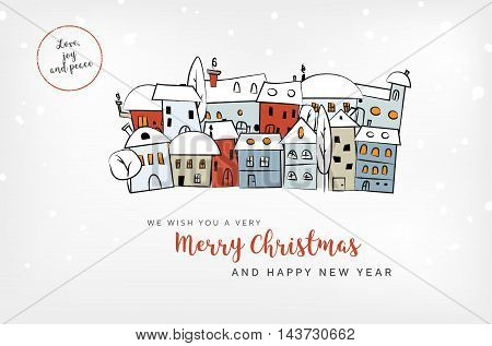 Merry Christmas And Hny Card With Abstract Snowy Village