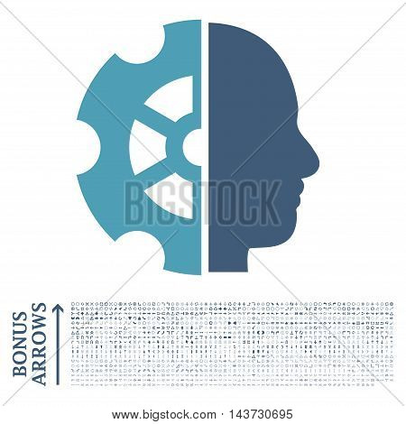 Intellect icon with 1200 bonus arrow and direction pictograms. Vector illustration style is flat iconic bicolor symbols, cyan and blue colors, white background.