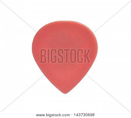 Guitar pick pink isolated on white background
