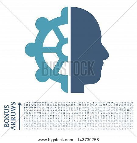 Intellect icon with 1200 bonus arrow and navigation pictograms. Vector illustration style is flat iconic bicolor symbols, cyan and blue colors, white background.
