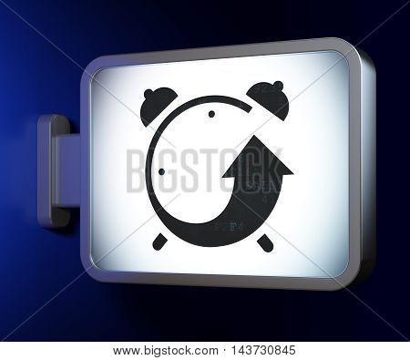Timeline concept: Alarm Clock on advertising billboard background, 3D rendering