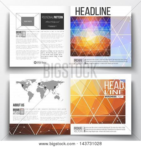 Vector set of square design brochure template. Abstract colorful polygonal background, modern stylish triangle vector texture.