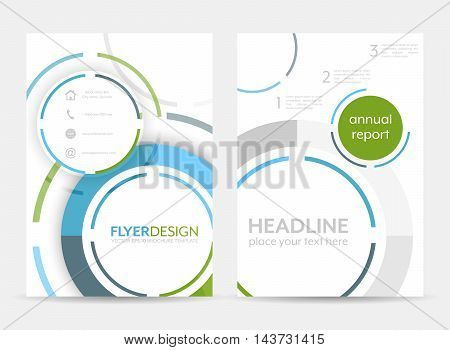 Business Flyer Template, Brochure Or Corporate Banner With Circular Pattern. A4 Size.