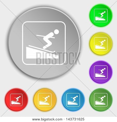 Skier Icon Sign. Symbol On Eight Flat Buttons. Vector