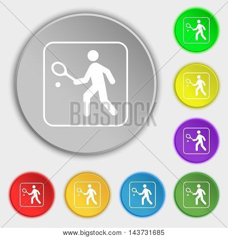 Tennis Player Icon Sign. Symbol On Eight Flat Buttons. Vector