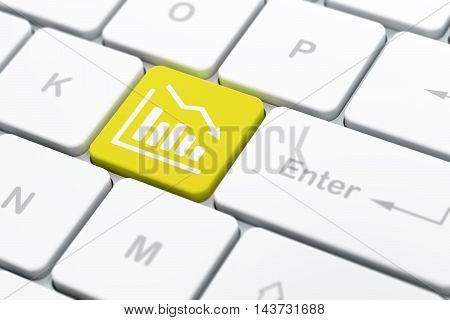 Finance concept: computer keyboard with Decline Graph icon on enter button background, selected focus, 3D rendering