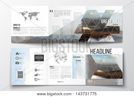 Vector set of tri-fold brochures, square design templates with element of world map and globe. Colorful polygonal backdrop, blurred background, mountain landscape, modern triangle vector texture.