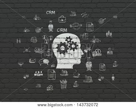 Finance concept: Painted white Head With Gears icon on Black Brick wall background with  Hand Drawn Business Icons
