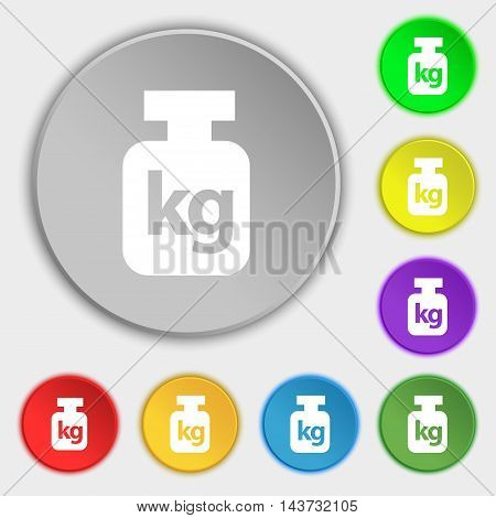 Weight Icon Sign. Symbol On Eight Flat Buttons. Vector